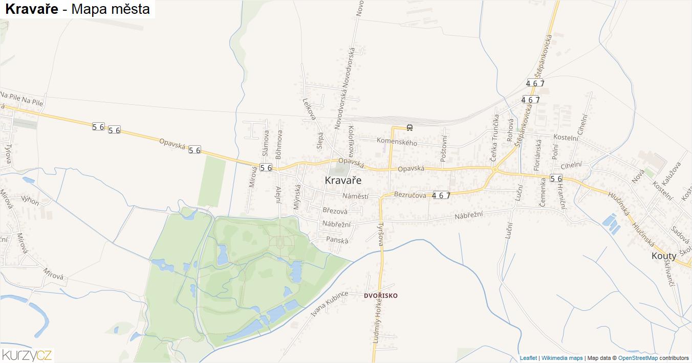 Kravaře - mapa města