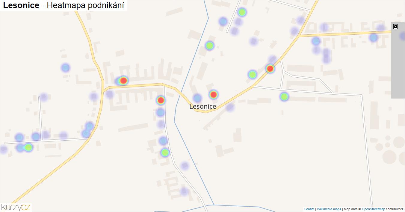 Lesonice - mapa podnikání