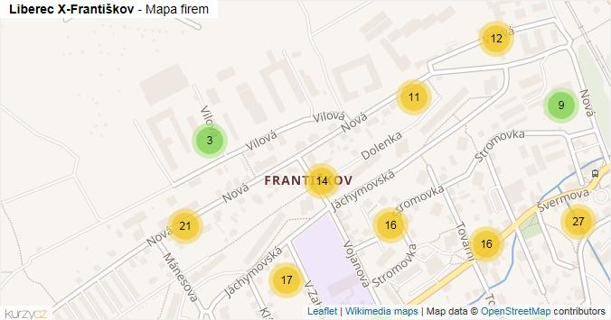 Mapa Liberec X-Františkov - Firmy v části obce.