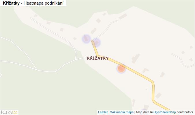 Mapa Křížatky - Firmy v části obce.