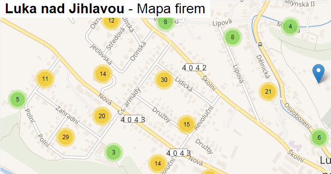 Luka nad Jihlavou - mapa firem