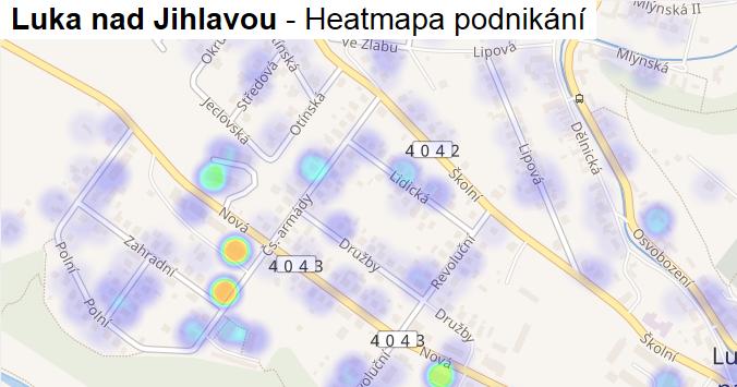 Luka nad Jihlavou - mapa podnikání