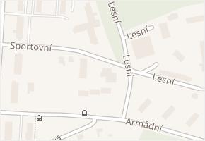 Lesní v obci Milovice - mapa ulice
