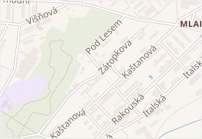 Pod Lesem v obci Milovice - mapa ulice