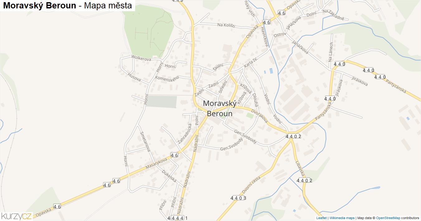 Moravský Beroun - mapa města