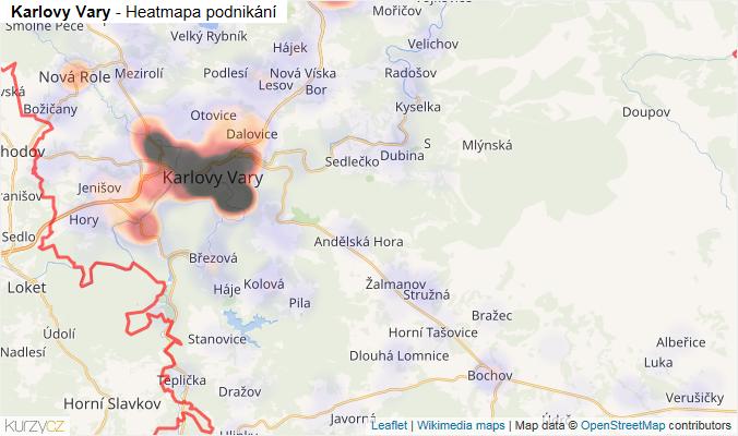 Mapa Karlovy Vary - Firmy v okrese.