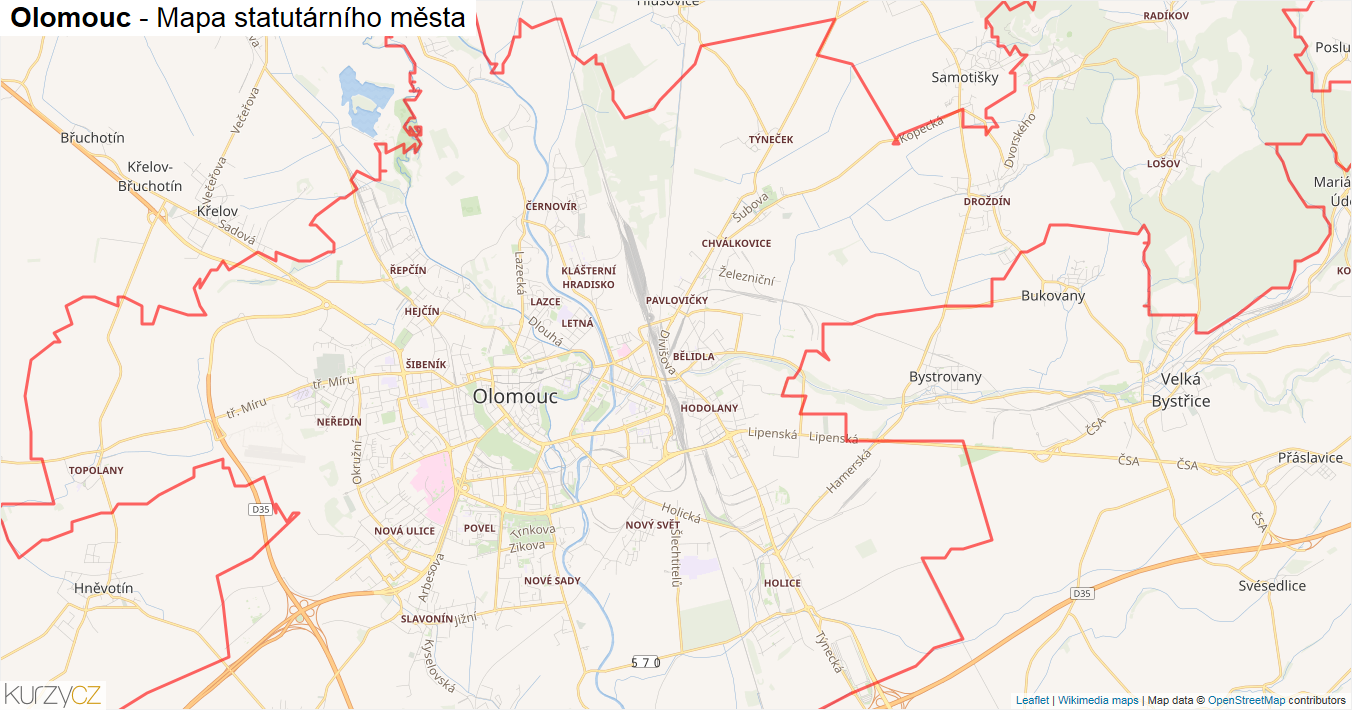 Olomouc - mapa statutárního města