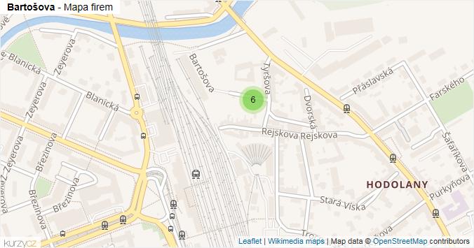 Mapa Bartošova - Firmy v ulici.
