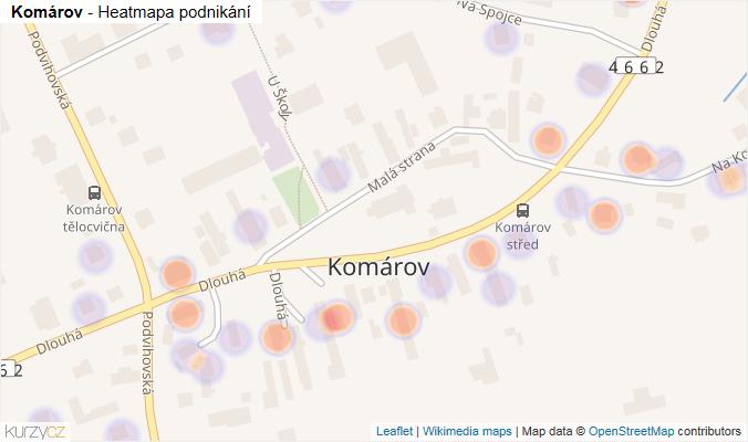 Mapa Komárov - Firmy v části obce.