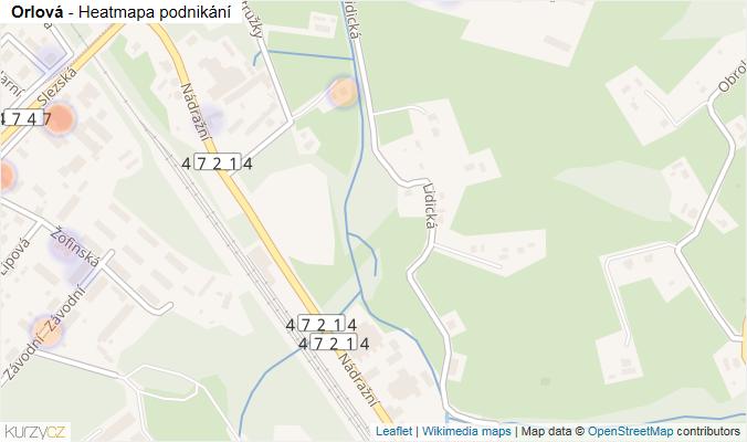 Mapa Orlová - Firmy v obci.
