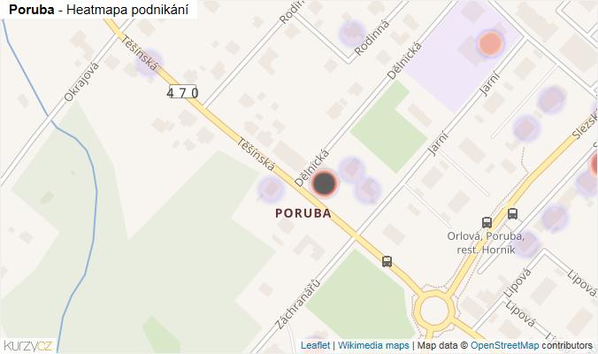 Mapa Poruba - Firmy v části obce.