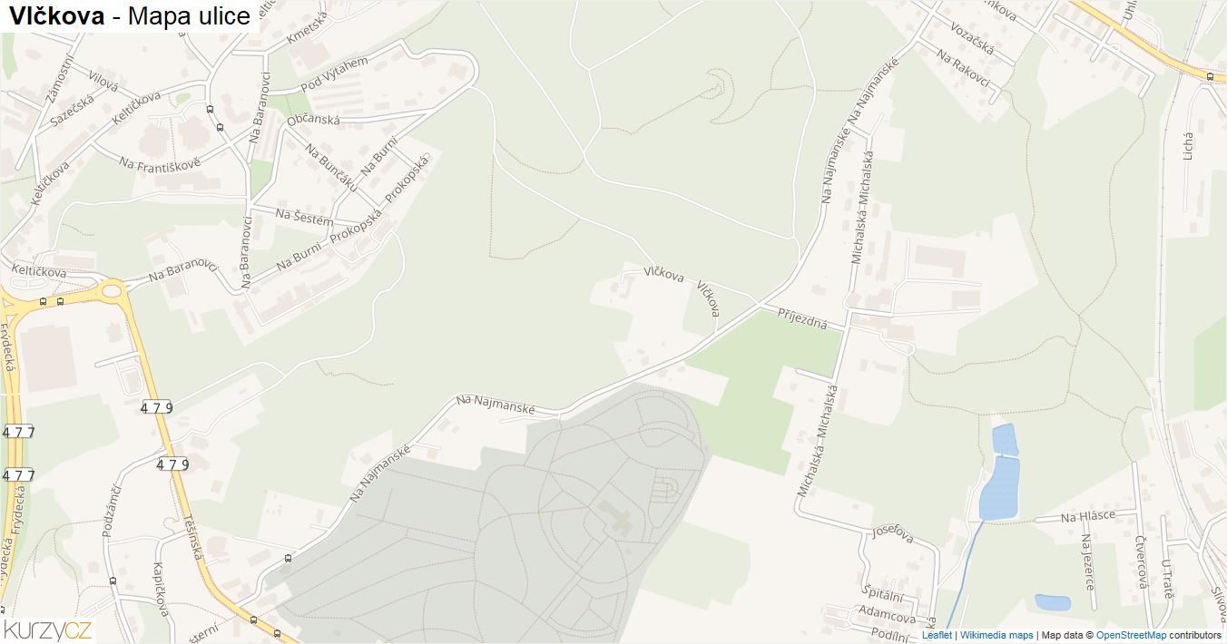 Vlčkova - mapa ulice