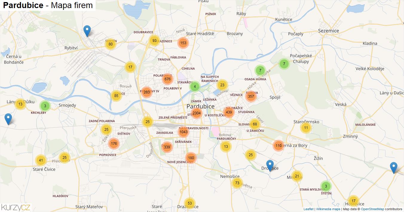 Pardubice - mapa firem