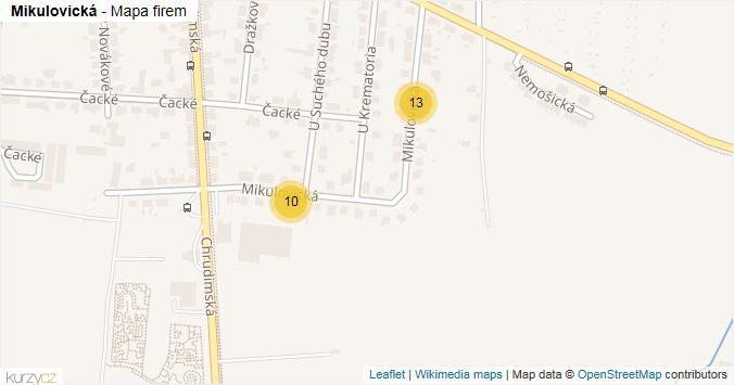 Mapa Mikulovická - Firmy v ulici.