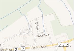 Olšová v obci Pardubice - mapa ulice