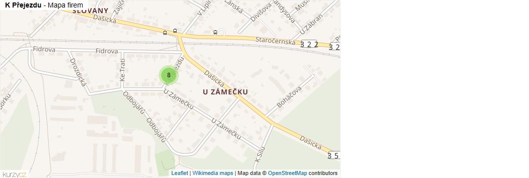 Mapa K Přejezdu - Firmy v ulici.