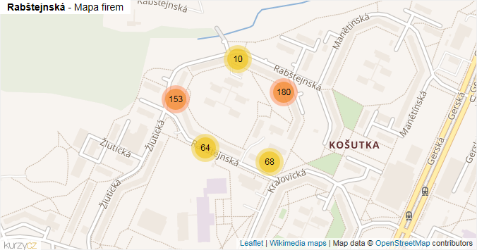 Mapa Rabštejnská - Firmy v ulici.