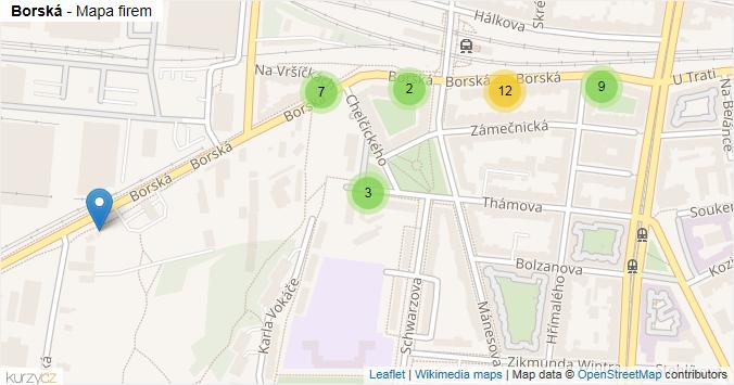 Mapa Borská - Firmy v ulici.
