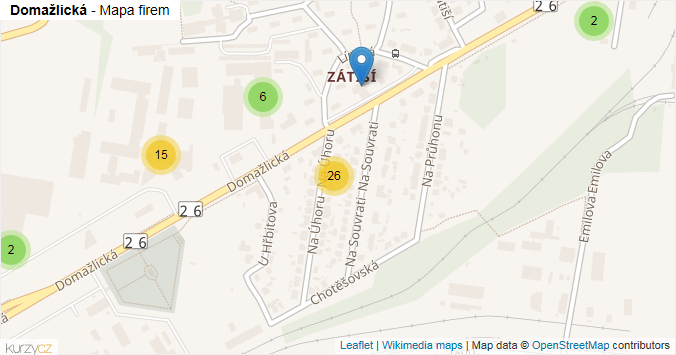 Mapa Domažlická - Firmy v ulici.