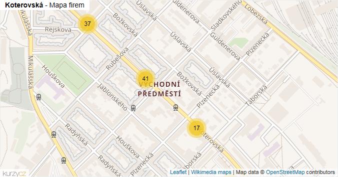 Mapa Koterovská - Firmy v ulici.