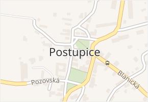 Postupice v obci Postupice - mapa části obce