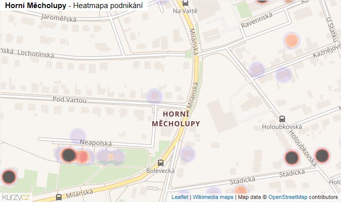 Mapa Horní Měcholupy - Firmy v části obce.
