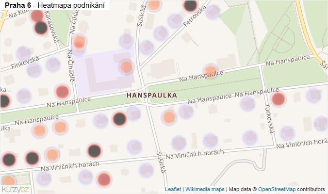 Mapa Praha 6 - Firmy v městské části.
