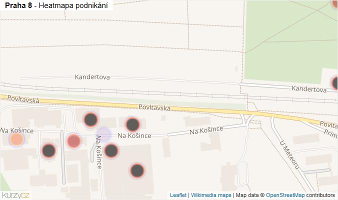 Mapa Praha 8 - Firmy v městské části.