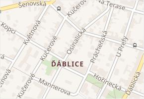 Praha-Ďáblice v obci Praha - mapa městské části