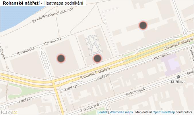 Mapa Rohanské nábřeží - Firmy v ulici.
