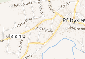 Prokopova v obci Přibyslav - mapa ulice