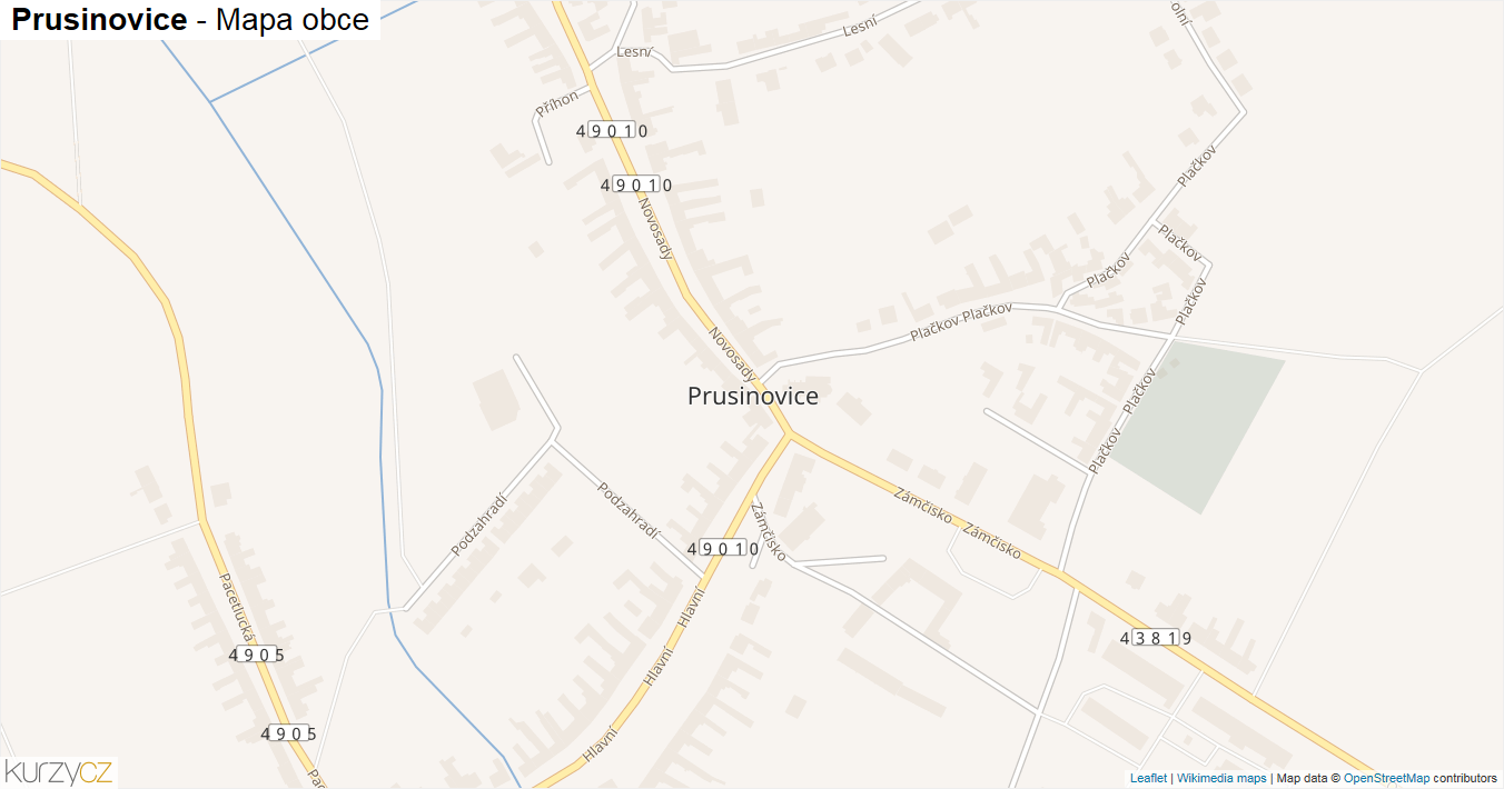Prusinovice - mapa obce