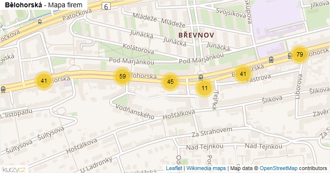Mapa Bělohorská - Firmy v ulici.
