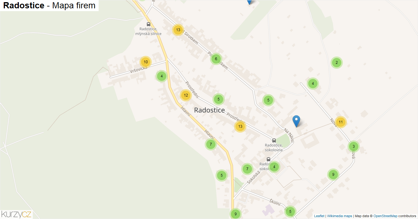 Radostice - mapa firem