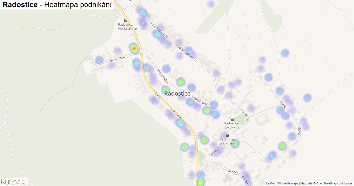 Radostice - mapa podnikání