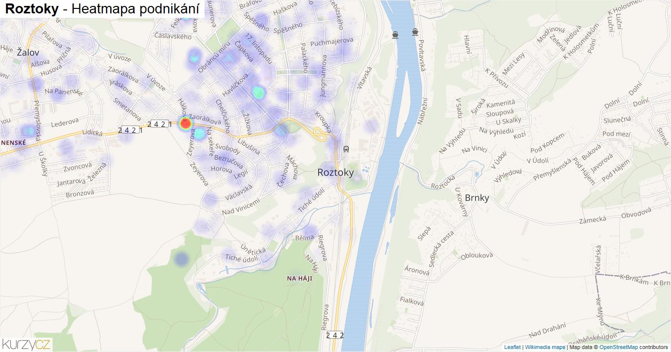 Roztoky - mapa podnikání