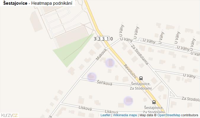 Mapa Šestajovice - Firmy v obci.