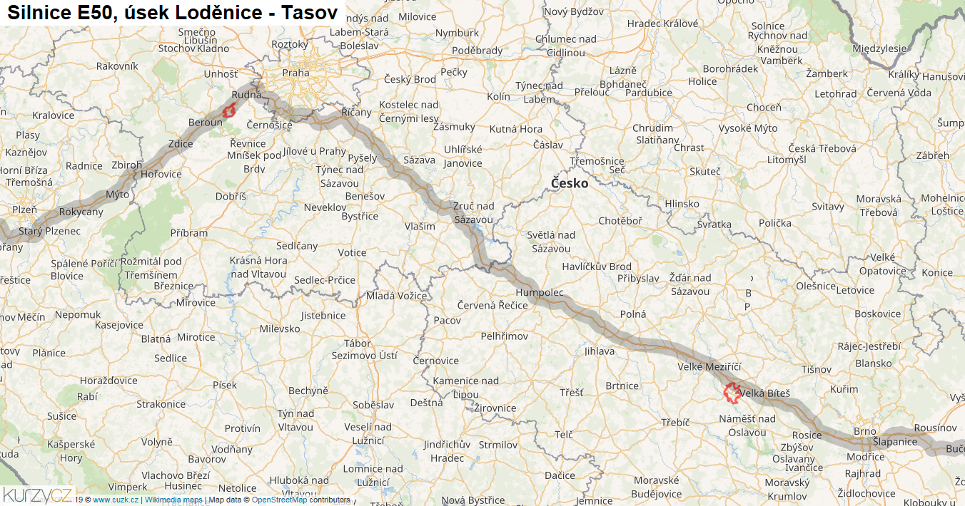 Úsek Loděnice-Tasov, Silnice E50 - Mapa | Kurzy.cz