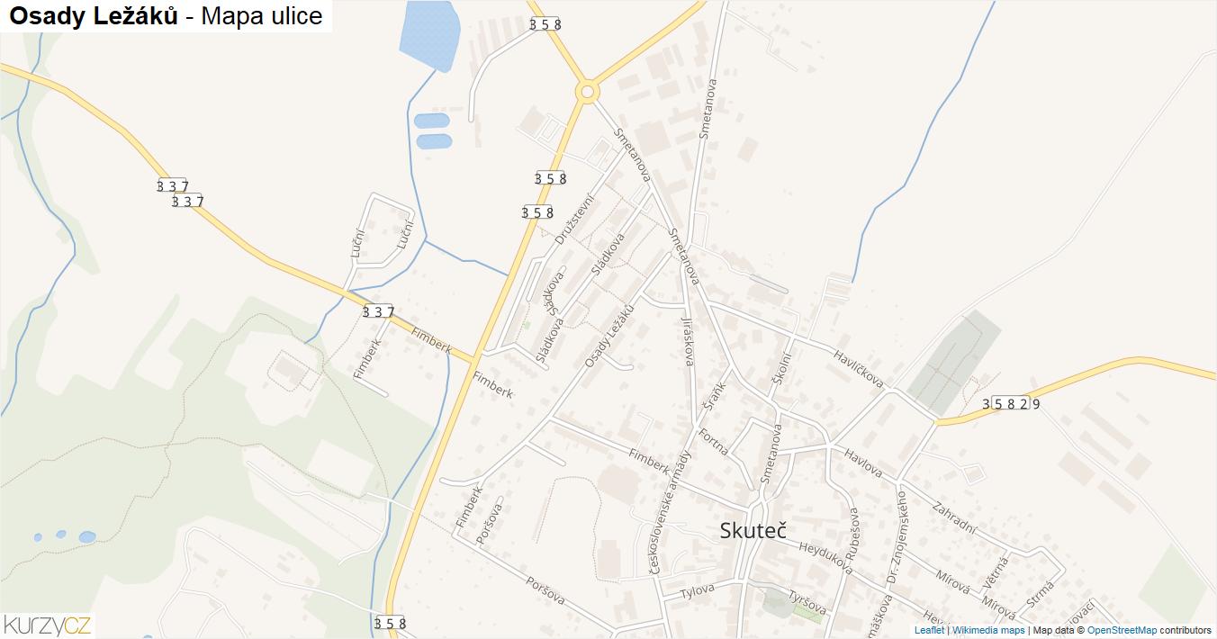 Osady Ležáků - mapa ulice