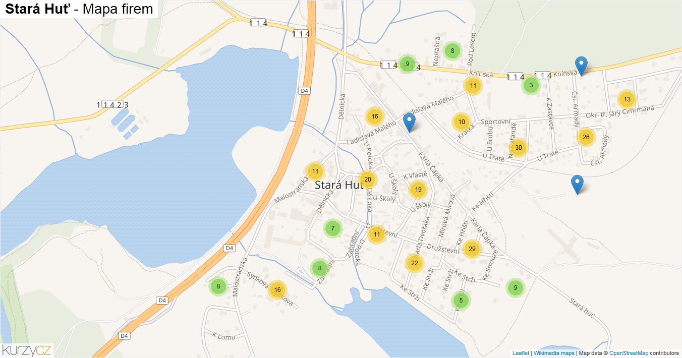 Stará Huť - mapa firem