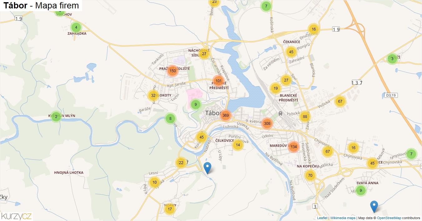 Tábor - mapa firem