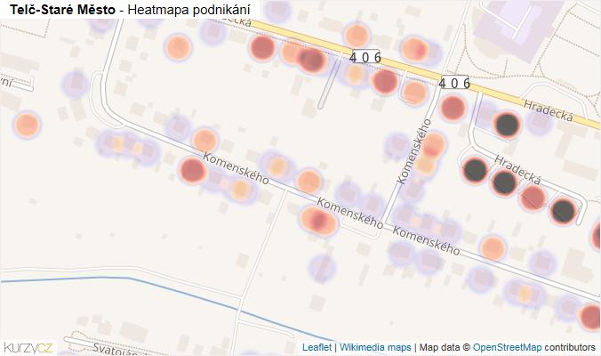 Mapa Telč-Staré Město - Firmy v části obce.