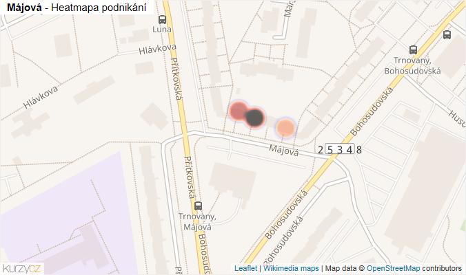 Mapa Májová - Firmy v ulici.