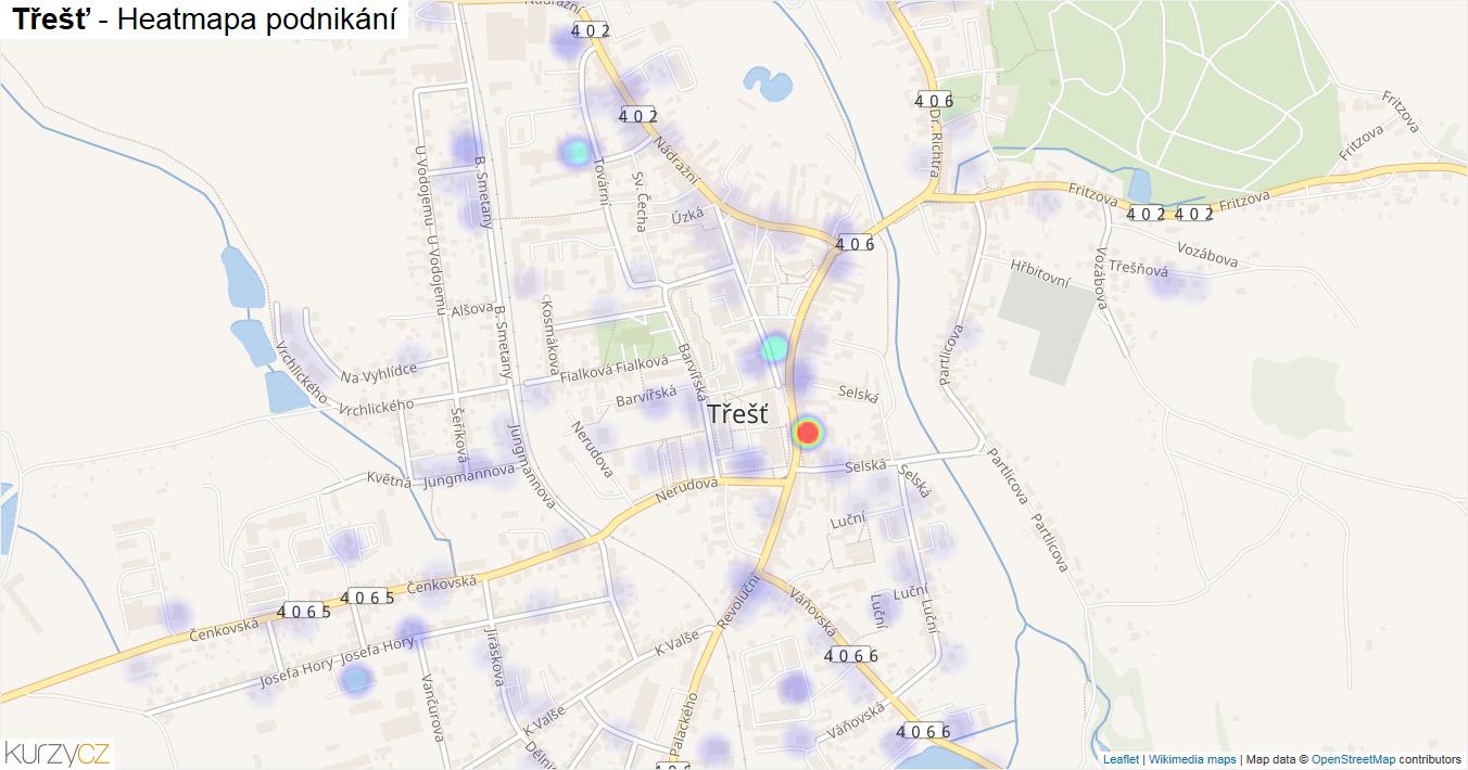 Třešť - mapa podnikání