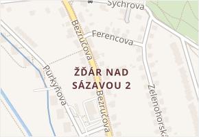 Žďár nad Sázavou 2 v obci Žďár nad Sázavou - mapa části obce