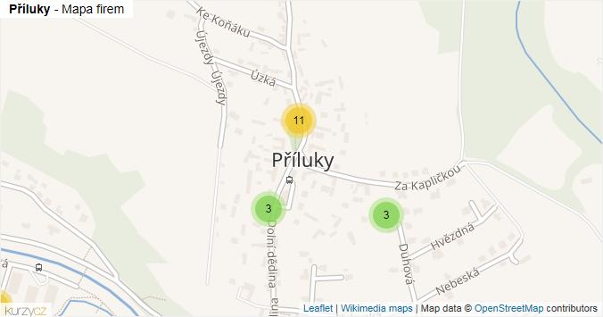 Mapa Příluky - Firmy v části obce.