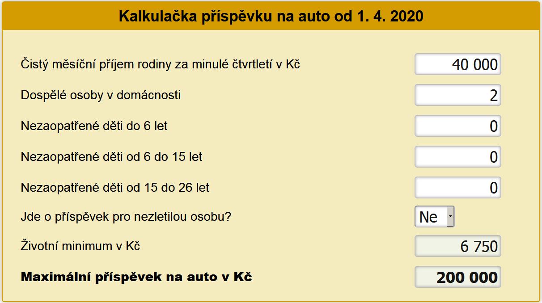 Příspěvek na auto 2020 kalkulačka