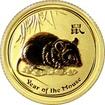 Zlatá investiční mince Year of the Mouse Rok Myši Lunární 1/10 Oz 2008