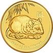 Zlatá investiční mince Year of the Mouse Rok Myši Lunární 2 Oz 2008