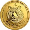 Zlatá investiční mince Year of the Tiger Rok Tygra Lunární 1/4 Oz 2010
